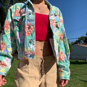 Vintage Pastel Floral Denim Jacket